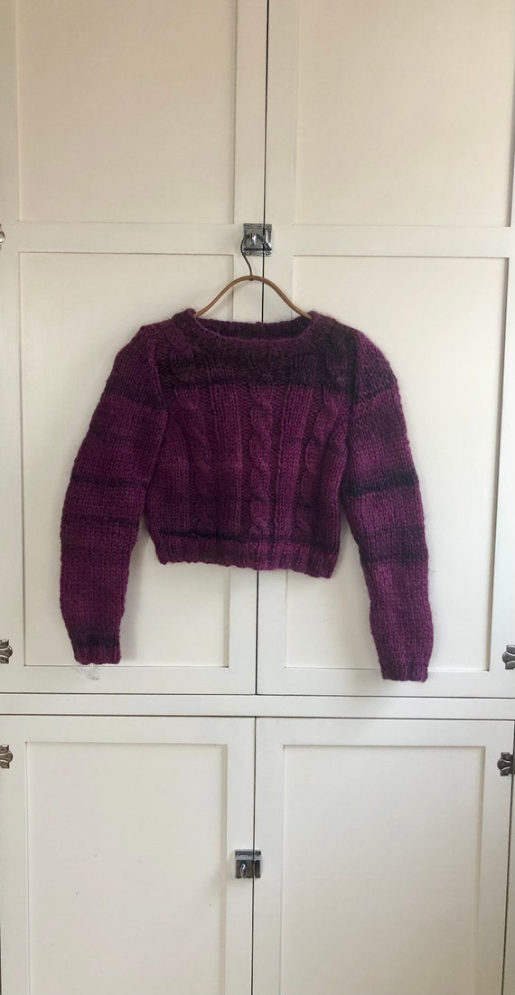 1970's Purple Striped Cropped Knit Sweater, Small,
