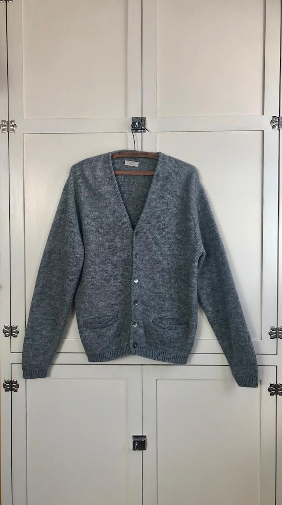 1950's Light Gray Mohair Blend Cardigan Sweater, M