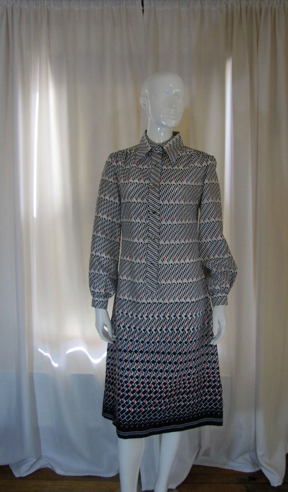 1960's Lanvin Art Deco Print Shirt Dress, Small, C