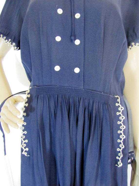 1950's Navy Rayon L'Aiglon Lace Trimmed Midi Dres… - image 9