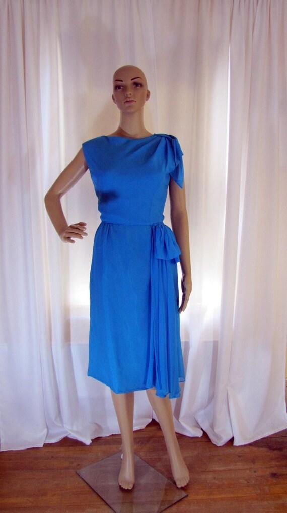 1960's Silk Chiffon Sheath Style Draped Turquoise… - image 6