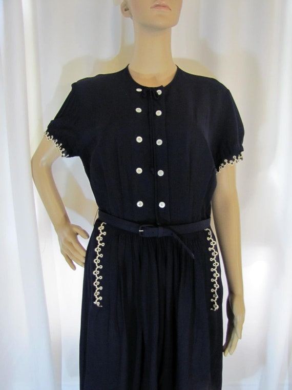 1950's Navy Rayon L'Aiglon Lace Trimmed Midi Dres… - image 3