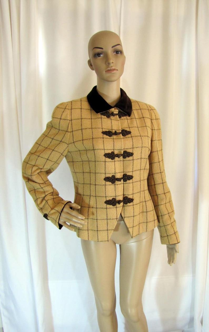 Small to Medium, 1990/'s Akris Tan and Brown Plaid Woven Rayon Short Blazer Business Brown Tan Switzerland Size 8 Plaid Akris