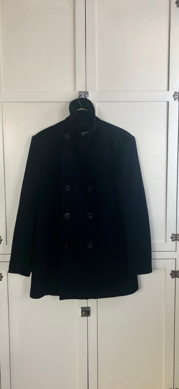 1990's Quarter Deck Naval Style Black Wool Pea Coa