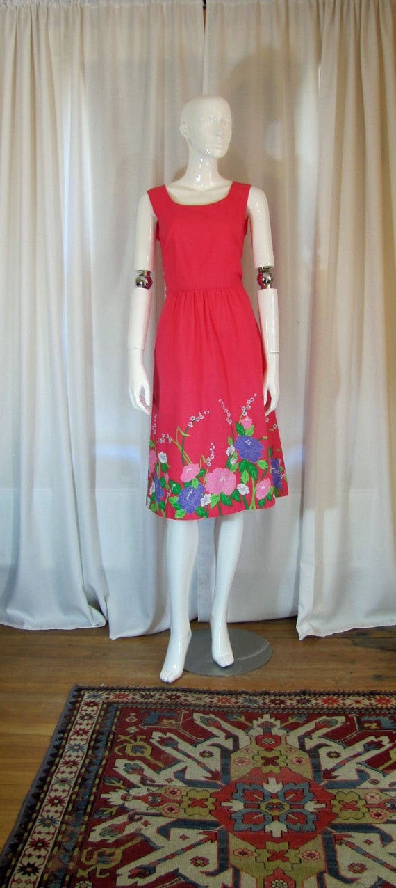 1980's  Malia of Hawaii Floral Pink Sundress, Smal