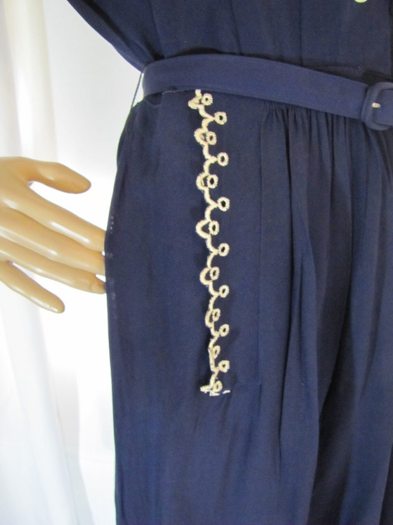1950's Navy Rayon L'Aiglon Lace Trimmed Midi Dres… - image 8