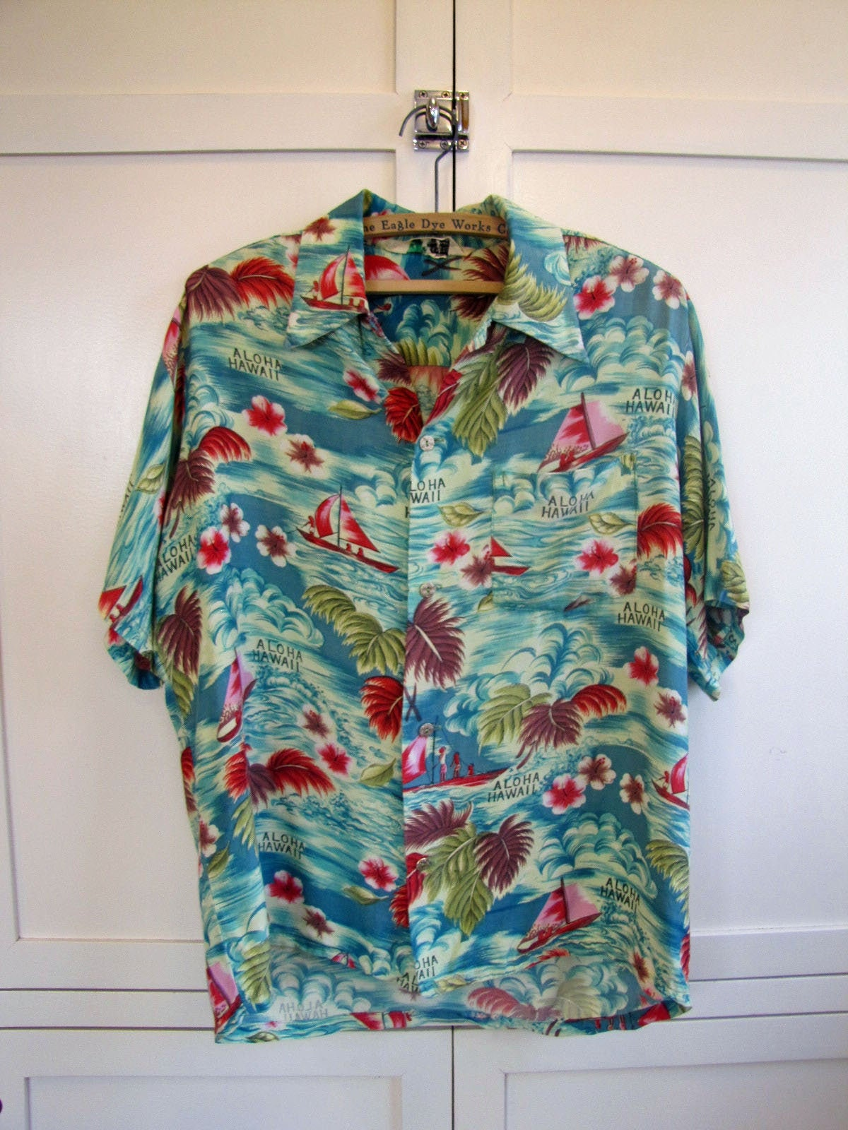 1970s Mens Shirt Styles – Vintage 70s Shirts for Guys 1960s Island Fashions Rayon Teal  Red Hawaiian Down Shirt, Mens Medium, Made in Japan, Teal, Red, Fashions, 60s $0.00 AT vintagedancer.com