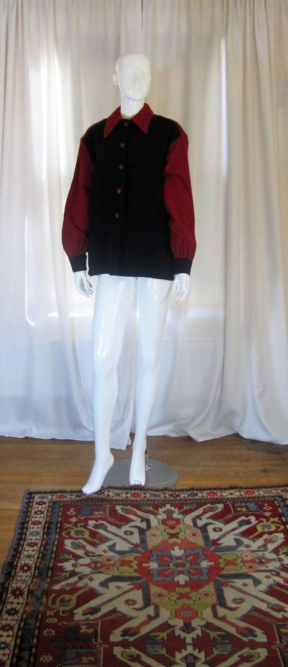 1940's Black and Red Wool Shirt Jacket, Women's Me