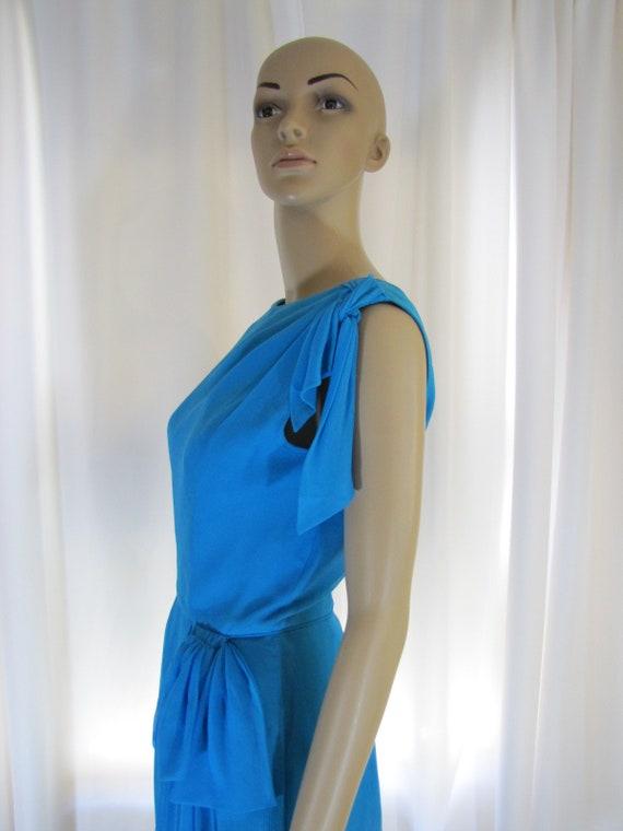 1960's Silk Chiffon Sheath Style Draped Turquoise… - image 4