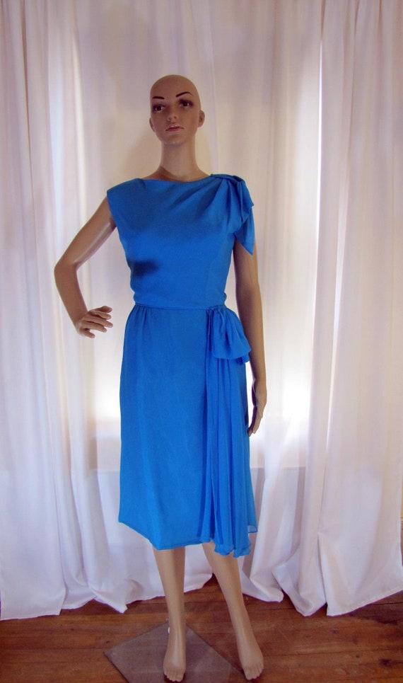 1960's Silk Chiffon Sheath Style Draped Turquoise… - image 1