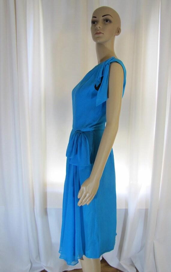 1960's Silk Chiffon Sheath Style Draped Turquoise… - image 5