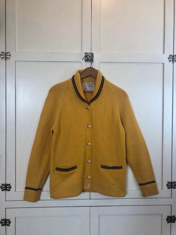 1960's Canadian Curling Wool Cardigan, Men's Small