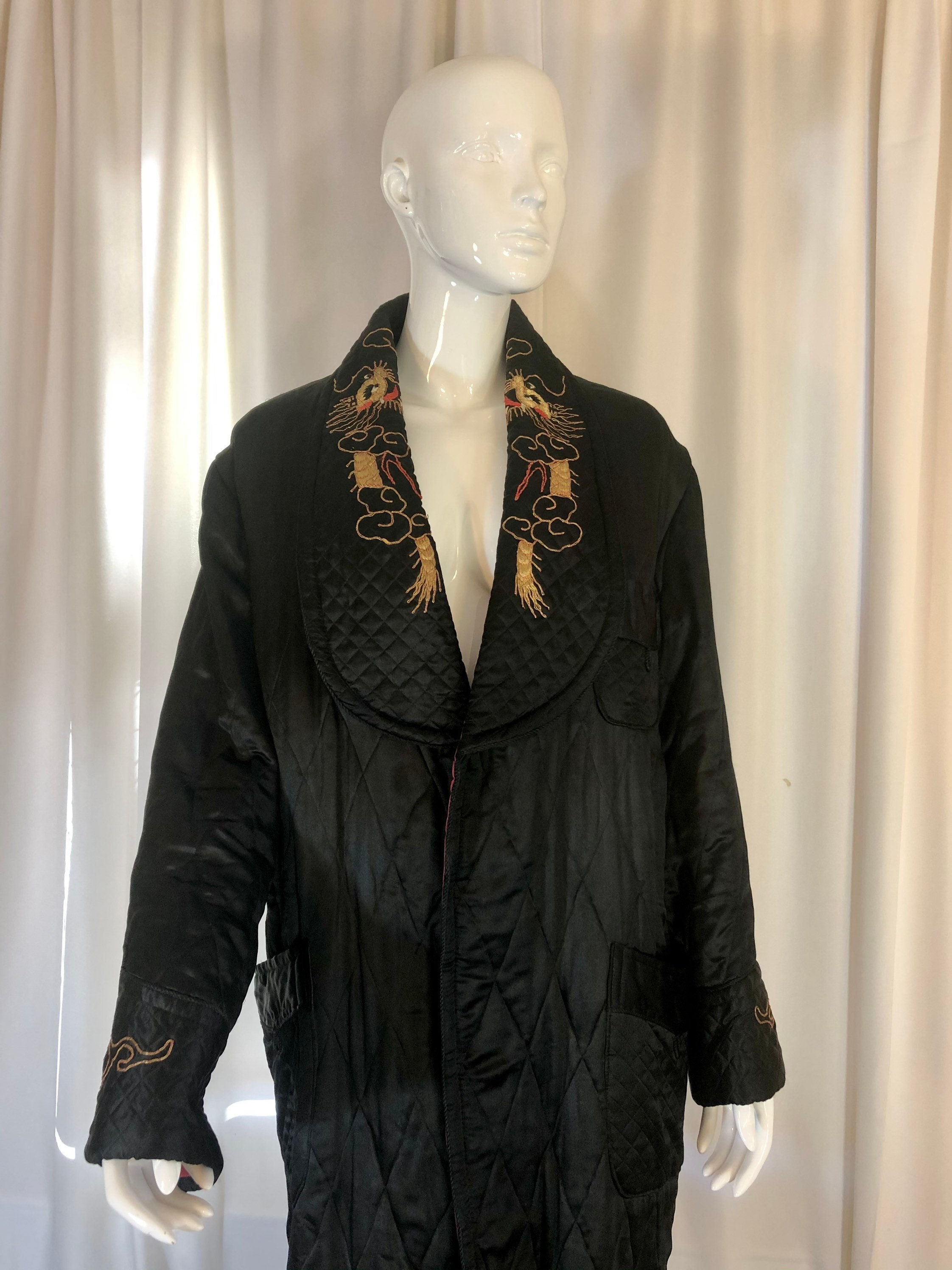 1940s Mens Ties | Wide Ties & Painted Ties 1940s Asian Black Silk Quilted Dragon Robe, Mens Small To Medium, Womens Medium Large, Silk, Satin, Quilted, Asian, Embroidered $0.00 AT vintagedancer.com