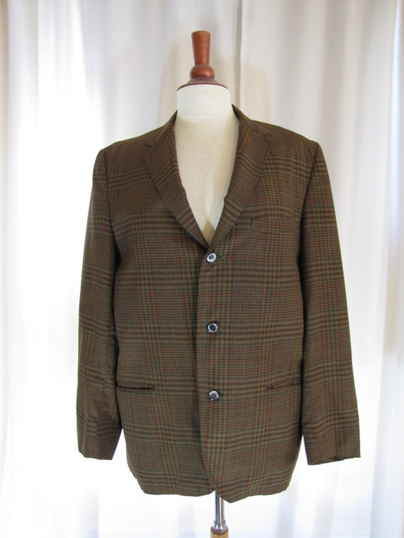 1960's Brown and Black Plaid Cotton Sport Jacket,