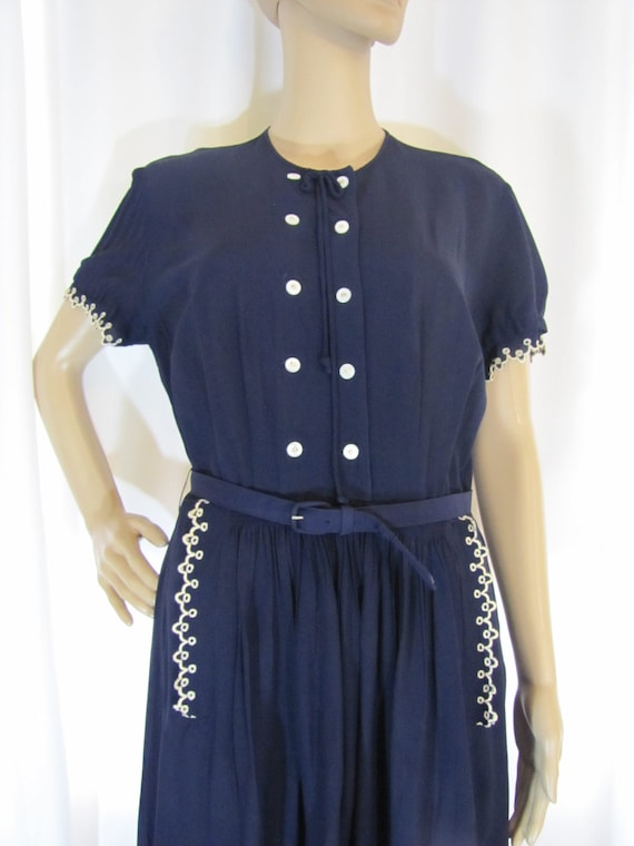 1950's Navy Rayon L'Aiglon Lace Trimmed Midi Dres… - image 6