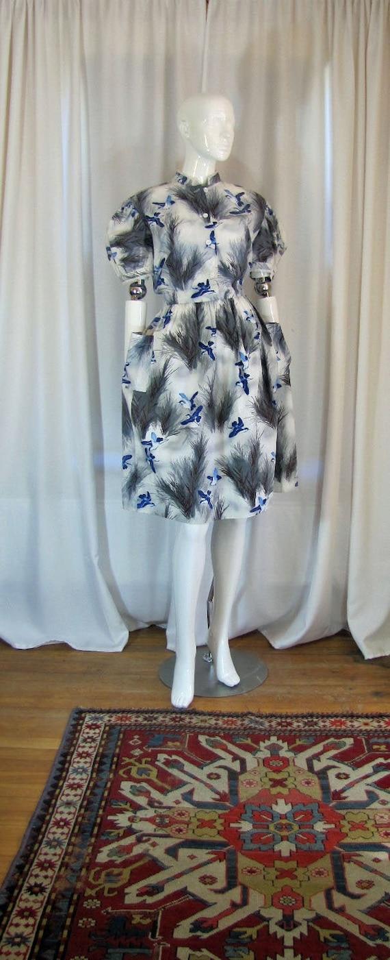 1950's Blue Bird Novelty Print Day Dress, Medium,
