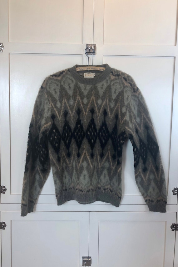 1950'S Men's Campus Mohair Green Argyle Pull-Over