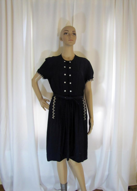 1950's Navy Rayon L'Aiglon Lace Trimmed Midi Dres… - image 1
