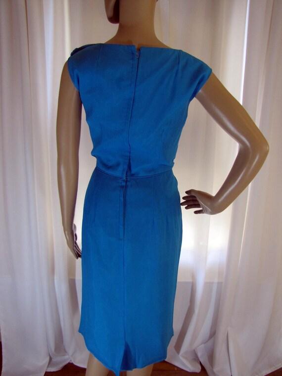 1960's Silk Chiffon Sheath Style Draped Turquoise… - image 7
