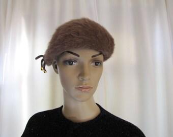 1960'S Mod Kangol Bubble Beret, Angora, Kangol, Beret, 1960's, 60's, Mod, Boho Chic, England, Light Brown, Brown, Women's Small