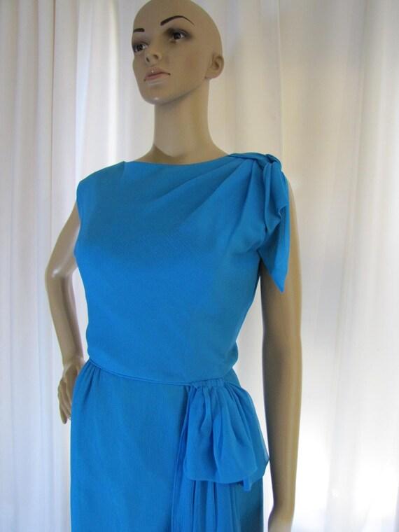 1960's Silk Chiffon Sheath Style Draped Turquoise… - image 3