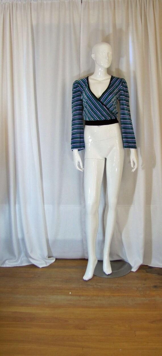 1970's Striped Velour Surplice Neckline Sweater, W