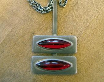 1960's Signed Jorgen Jensen Danish Modern Pendant Necklace, Jorgen Jensen, Danish Modern, Denmark, Danish, Necklace, Pendant, Pewter, 1960