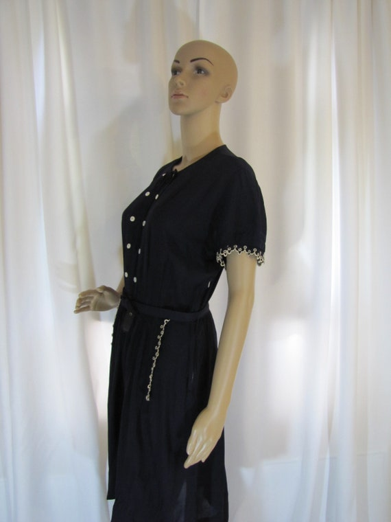 1950's Navy Rayon L'Aiglon Lace Trimmed Midi Dres… - image 4