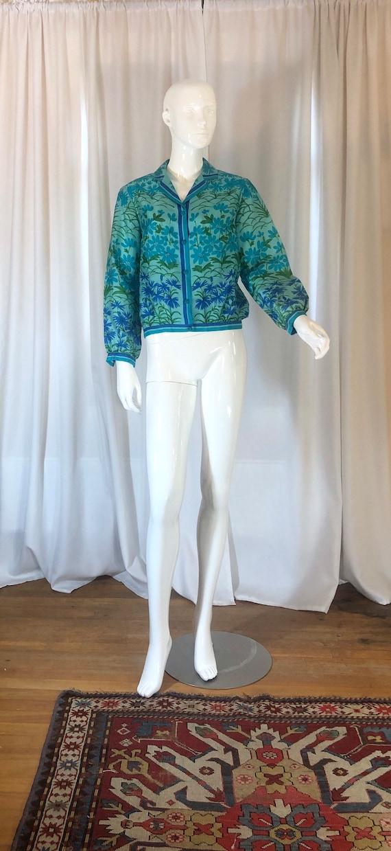 1970's Vera Neumann Turquoise Floral Silk Blouse,