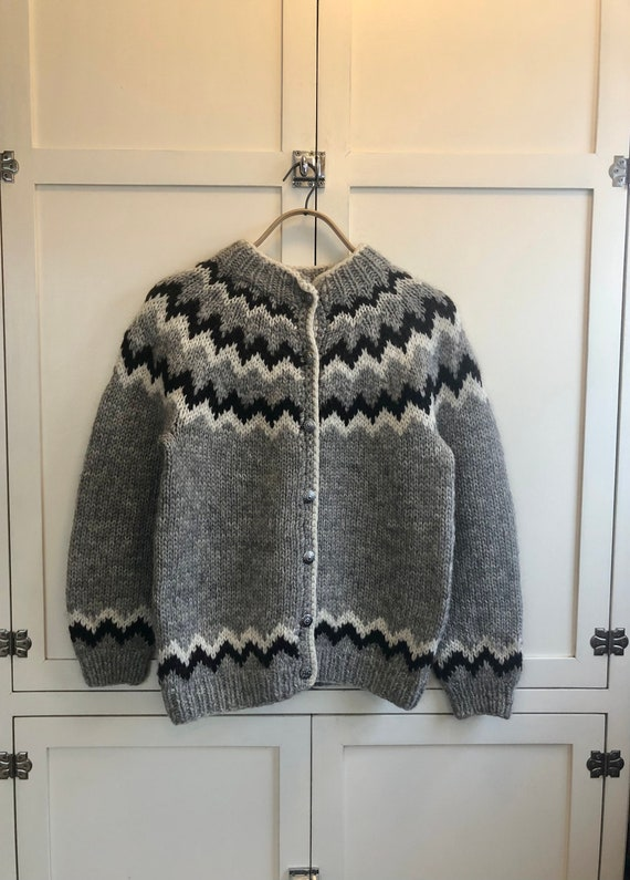 1980's LL Bean Gray and Brown Icelandic Cardigan S