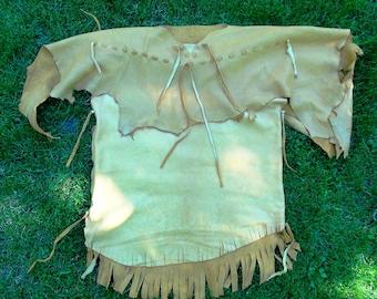 Brain tanned leather shirt, mountain man leather shirt, pioneer leather shirt, Native American shirt, thanksgiving, halloween, yule