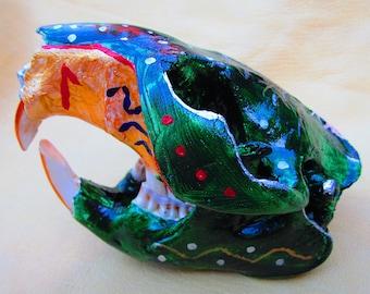 Beaver skull, painted beaver skull, beaver skull, medicine skull, medicine beaver skull, skull, mammal skull, thanksgiving, halloween, yule
