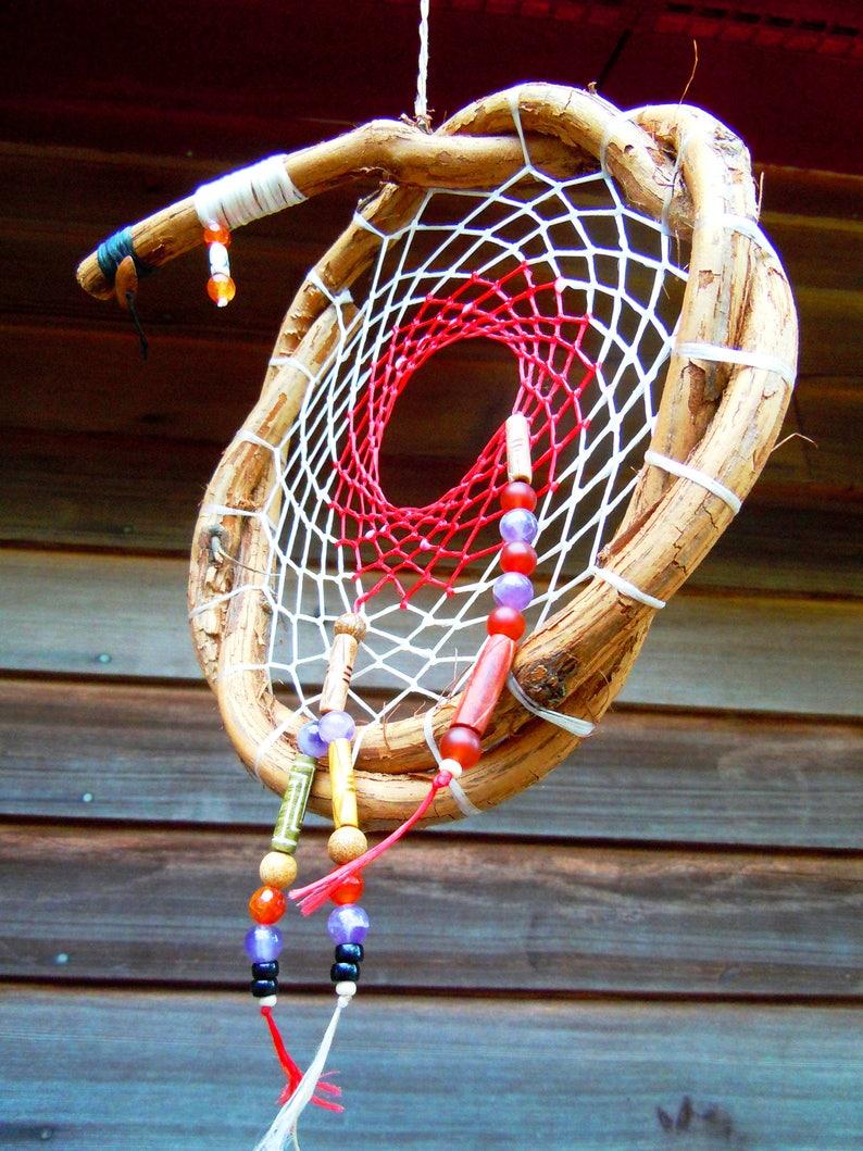 red and white Dream Catchergrapevine dream catcherhandmade image 0