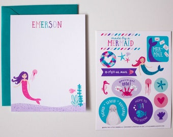 Personalized Mermaid Kids Stationery Flat Card Writing Set with Stickers