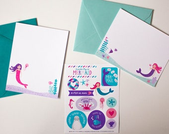 Mermaid Kids Stationery Flat Card Writing Set with Stickers