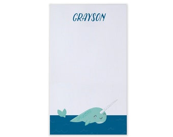Personalized Kids Stationery - Narwhal Notepad