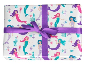 Fun Mermaid Gift Wrap - Wrapping Paper in Purple, Turquoise, Blue, and Pink