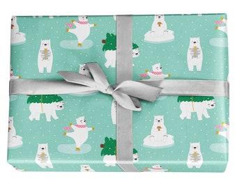 Cute Polar Bear Holiday Gift Wrap