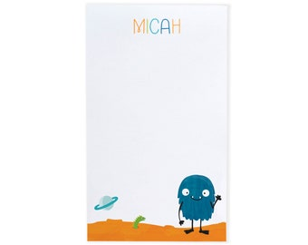 Space Monster Alien Notepad - Personalized Kids Stationery