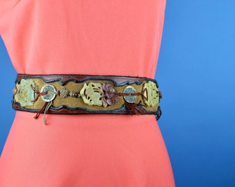 One of a kind leather belt with carved jade beads