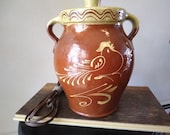 Redware stoneware pottery lamp with rooster and flower, marked Rockdale, Edgerton, WIS. Crock to top of lid is 9 quot x 7 x 6, no chips, nice