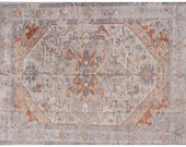 8 x 10 ft Heriz Large Rug Room Size vintage Oushak colors carpet hand knotted worn to perfection look silver grey pastell muted pastel