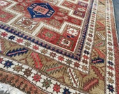 6 x 4.5 ft Heriz Antique Rug Worn to Perfection tribal style carpet Persian Design from Azerbaijan Beige Brown Pink