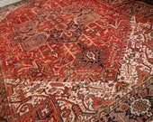 12.5 x 9.2 ft Heriz Antique Rug Turkish Azeri carpet from Turkey room size area Serapi. Worn to Perfection