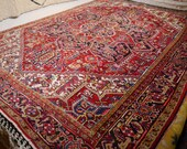 11 x 9 ft Heriz Vintage Rug Turkish Azeri carpet from Turkey room size area Serapi. Worn to Perfection