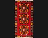 Vintage Red Rug Turkey 6.5 x 3.2 ft 195 x 97 cm bohemian boho Heriz Oushak style carpet