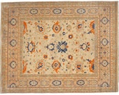 Heriz rug 9.8 x 8 ft 298 x 245 cm area carpet roomsize Sultanabad Mahal patterns 8 x 10 ft veggie dyes hand knotted vintage