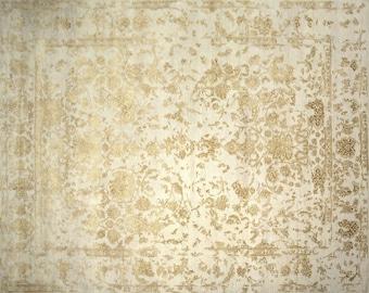 Modern Vintage rug 8 x 10 ft /  310 x 250 cm vintage carpet persian rug Tabriz Erased New