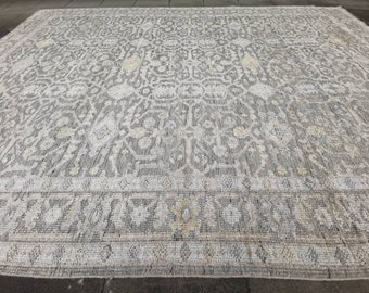 14 x 10 ft Heriz Large Rug Room Size vintage Oushak colors carpet hand knotted worn to perfection look silver grey blue pastell muted pastel