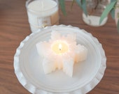 Winter Snowflake Decorative Candle with Hand-sewn pouch , Winter candle